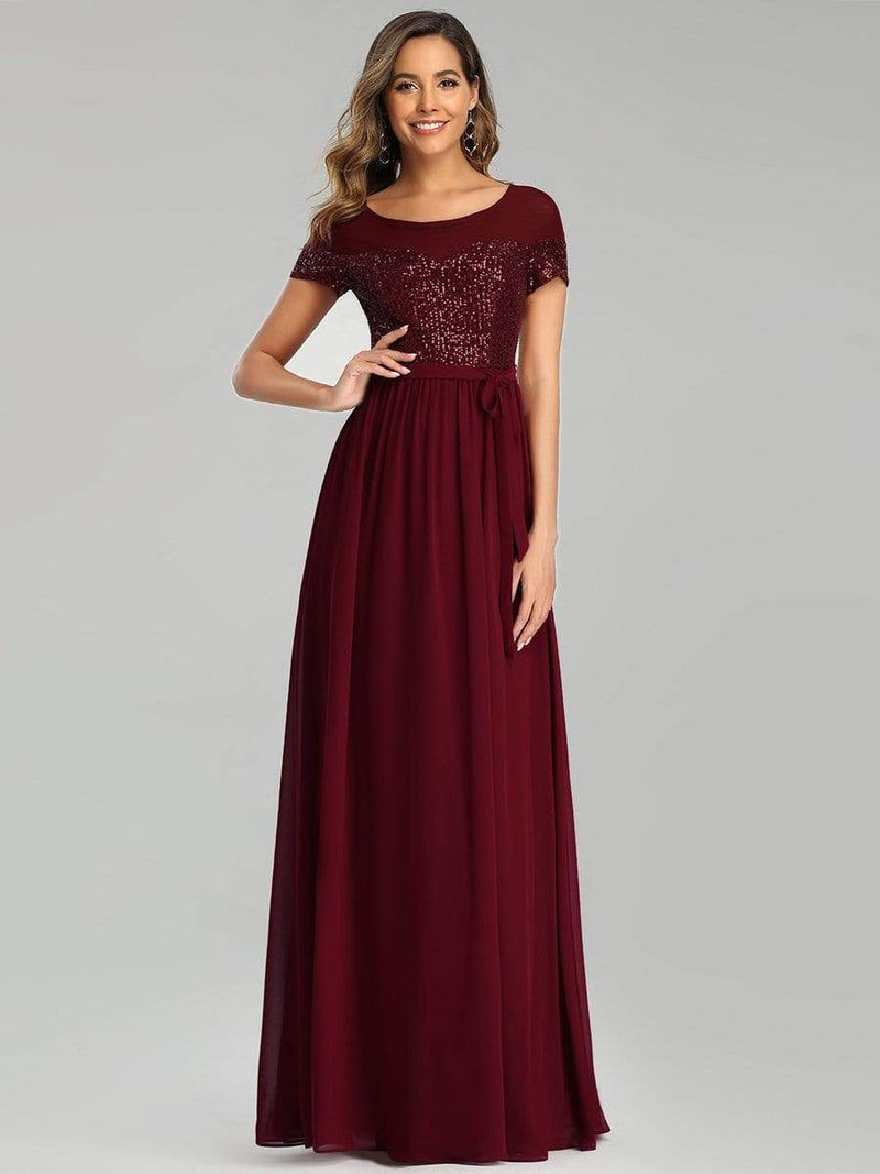 Round Neck Short Sleeve Chiffon & Sequin Evening Dresses With Belt-Burgundy 1