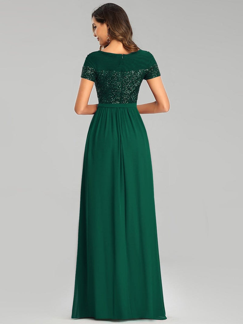 Round Neck Short Sleeve Chiffon & Sequin Evening Dresses With Belt-Dark Green 2