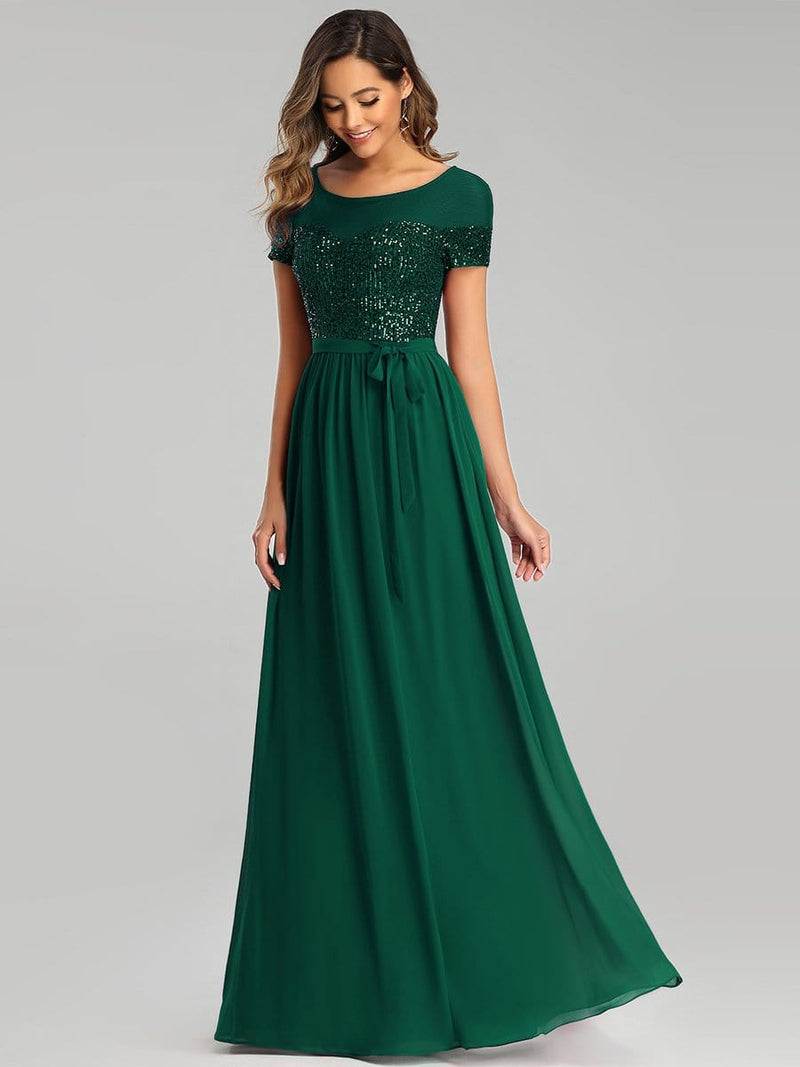 Round Neck Short Sleeve Chiffon & Sequin Evening Dresses With Belt-Dark Green 3
