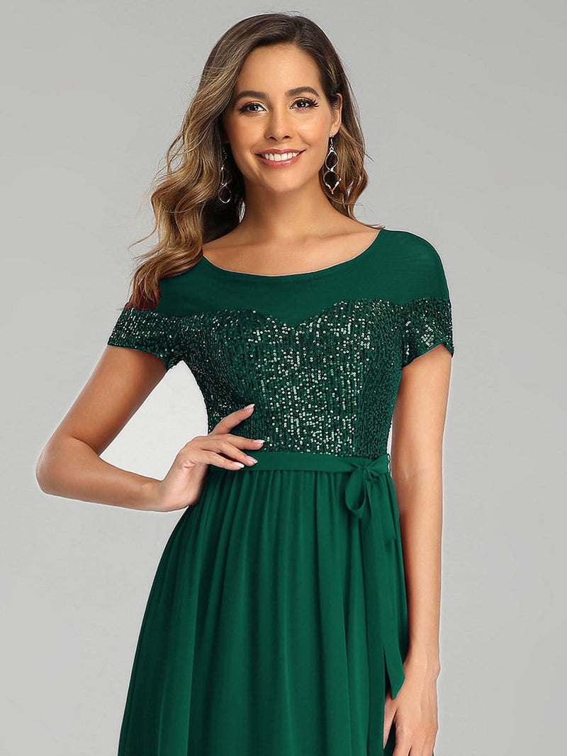 Round Neck Short Sleeve Chiffon & Sequin Evening Dresses With Belt-Dark Green 5