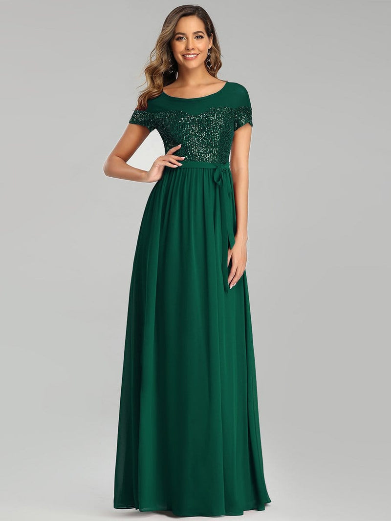 Round Neck Short Sleeve Chiffon & Sequin Evening Dresses With Belt-Dark Green 1