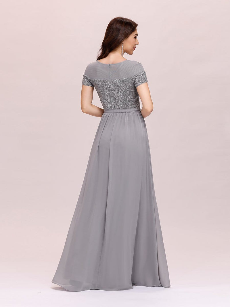 Round Neck Short Sleeve Chiffon & Sequin Evening Dresses With Belt-Grey 2