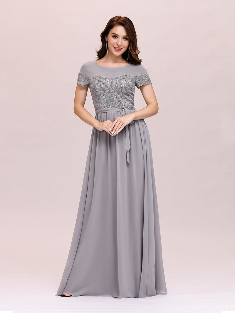 Round Neck Short Sleeve Chiffon & Sequin Evening Dresses With Belt-Grey 3