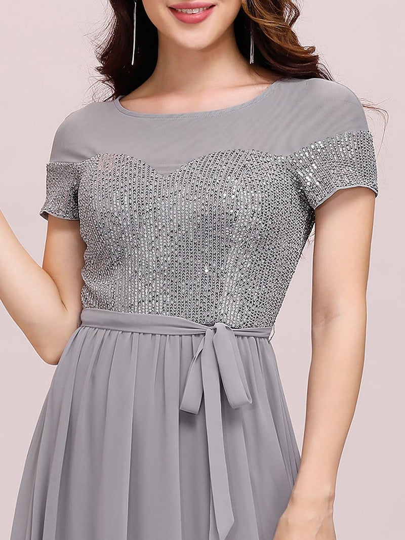 Round Neck Short Sleeve Chiffon & Sequin Evening Dresses With Belt-Grey 5