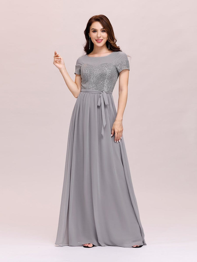 Round Neck Short Sleeve Chiffon & Sequin Evening Dresses With Belt-Grey 1