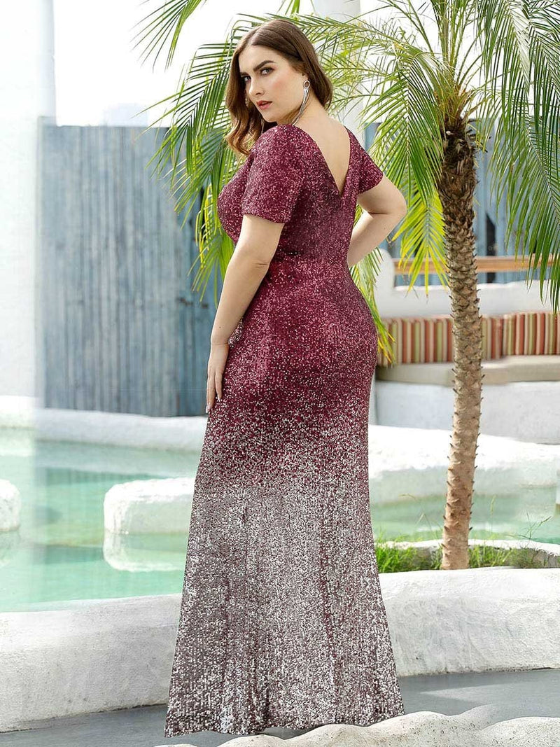 Sexy V Neck Mermaid Sequin Evening Dress With Short Sleeve-Burgundy 7