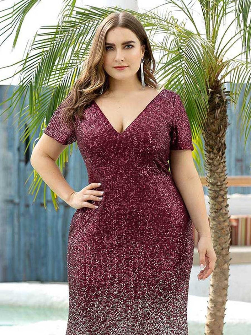 Sexy V Neck Mermaid Sequin Evening Dress With Short Sleeve-Burgundy 10