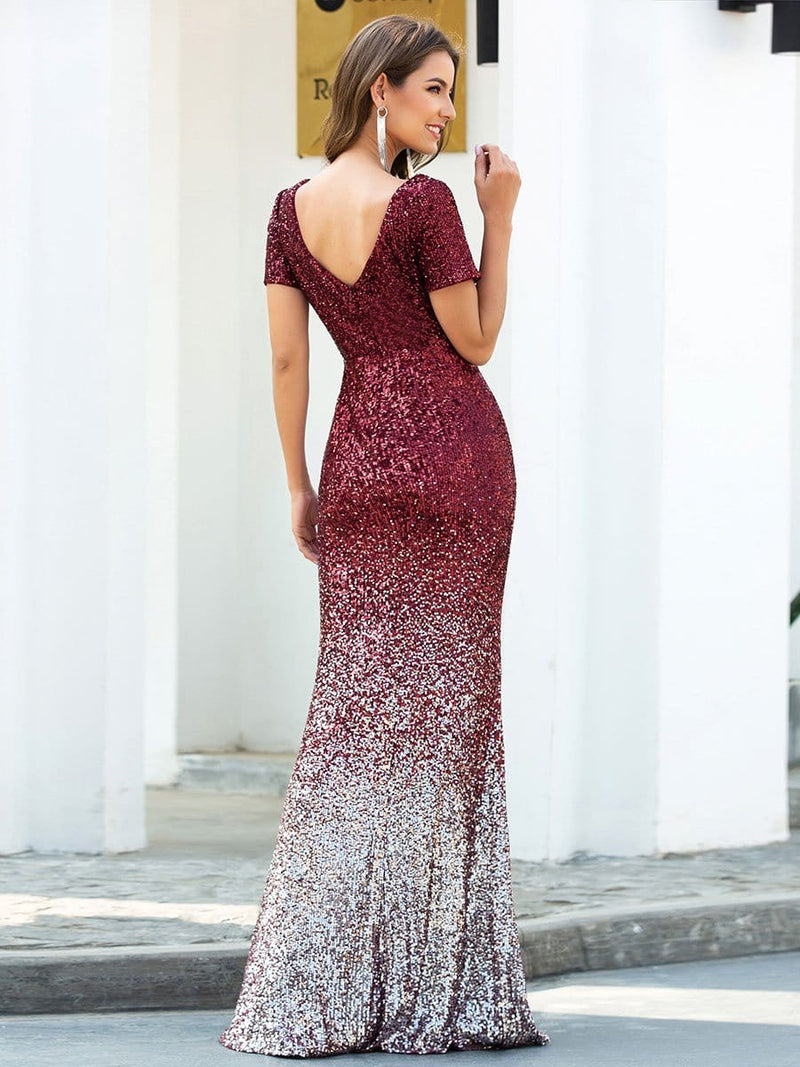Sexy V Neck Mermaid Sequin Evening Dress With Short Sleeve-Burgundy 2