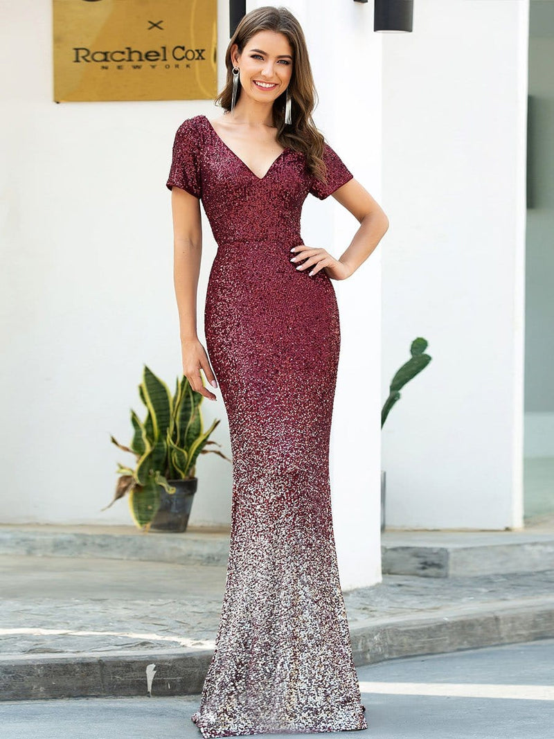 Sexy V Neck Mermaid Sequin Evening Dress With Short Sleeve-Burgundy 1