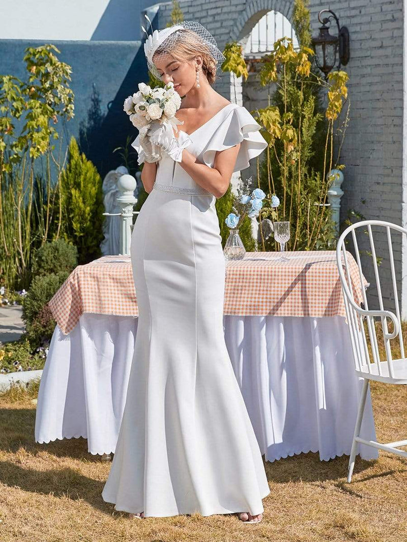 Plain Maxi Fishtail Wedding Dress With Ruffle Sleeves-Cream 1