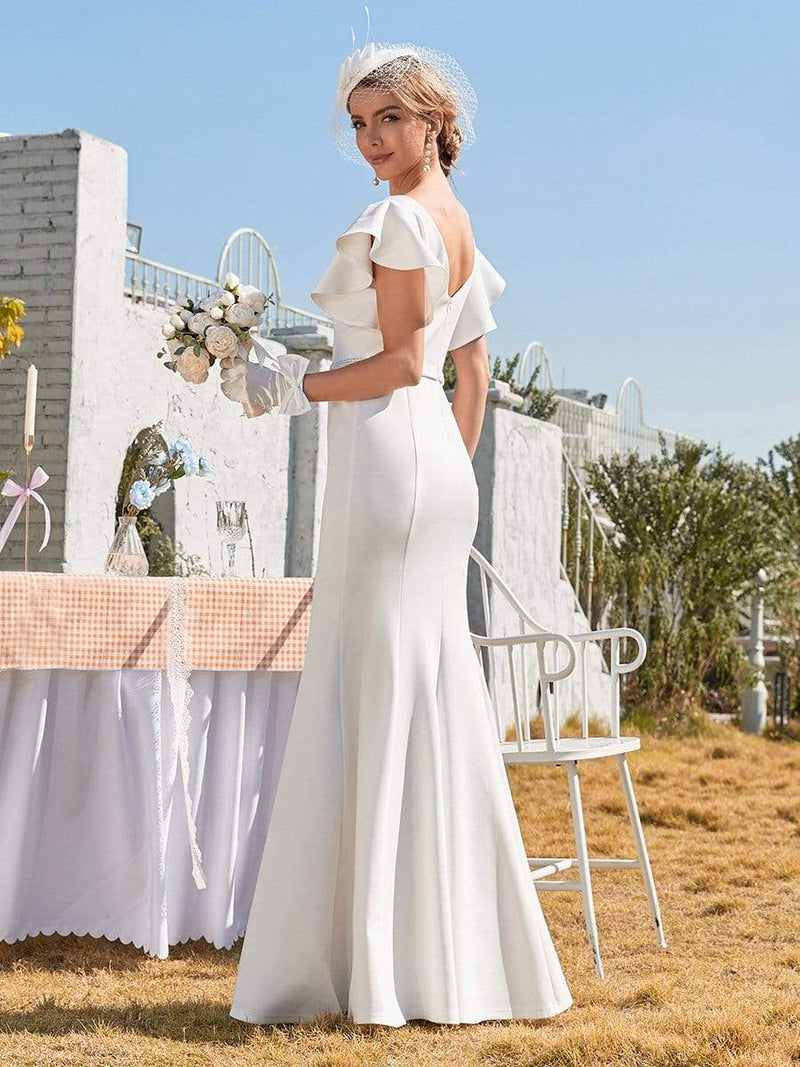Plain Maxi Fishtail Wedding Dress With Ruffle Sleeves-Cream 3