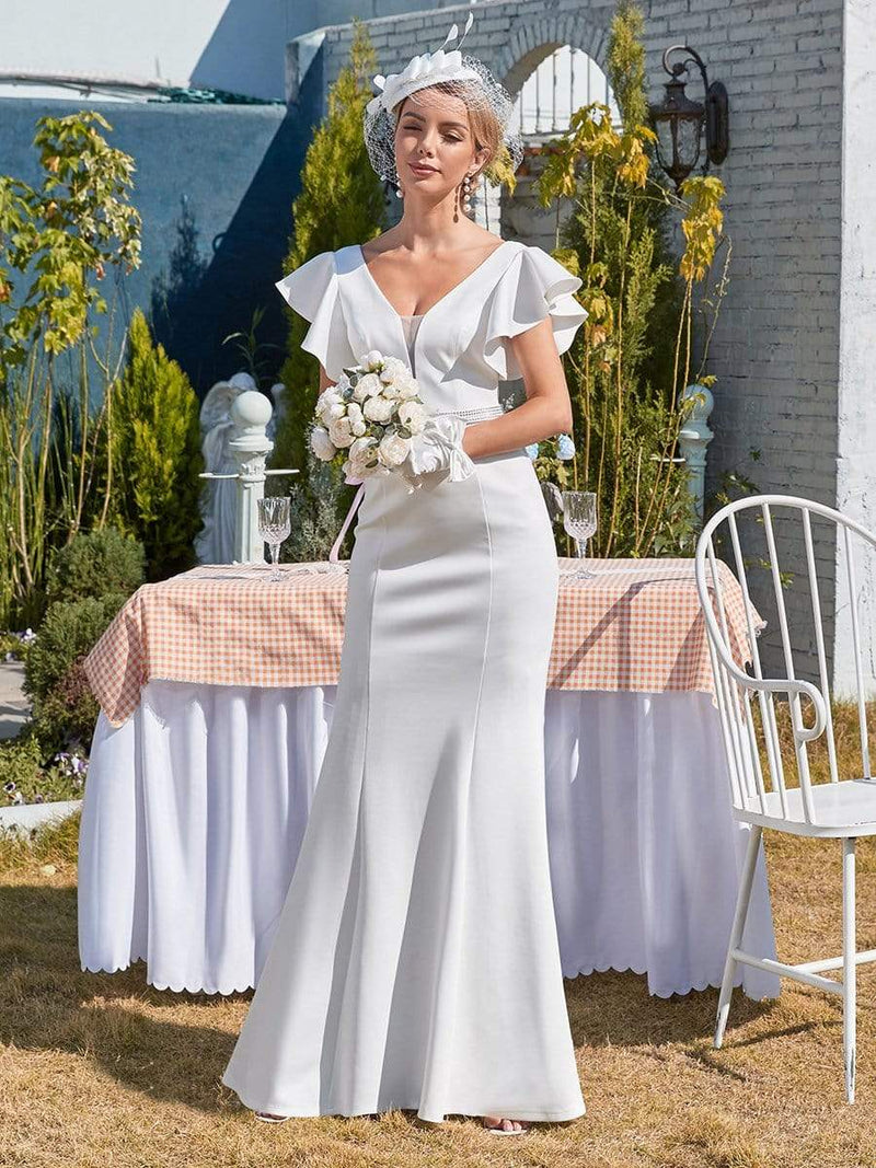 Plain Maxi Fishtail Wedding Dress With Ruffle Sleeves-Cream 4