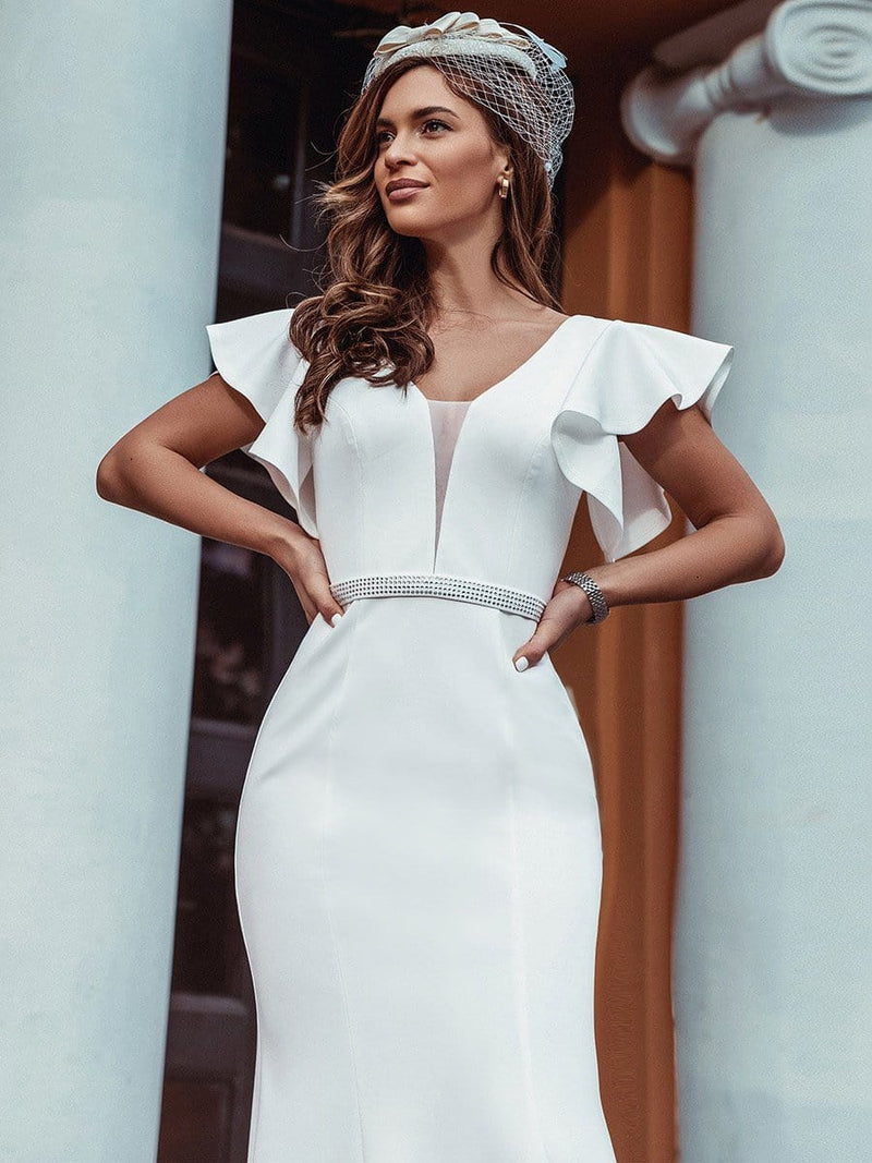 Plain Maxi Fishtail Wedding Dress With Ruffle Sleeves-Cream 10