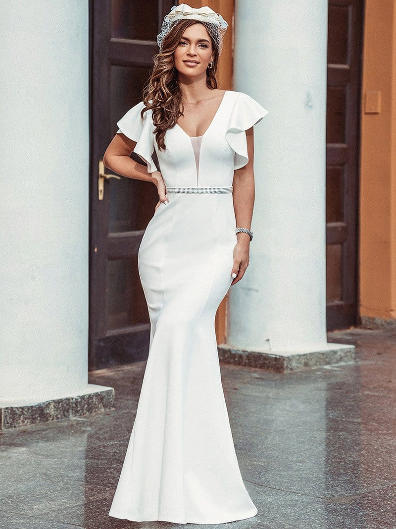 Plain Maxi Fishtail Wedding Dress With Ruffle Sleeves-Cream 9