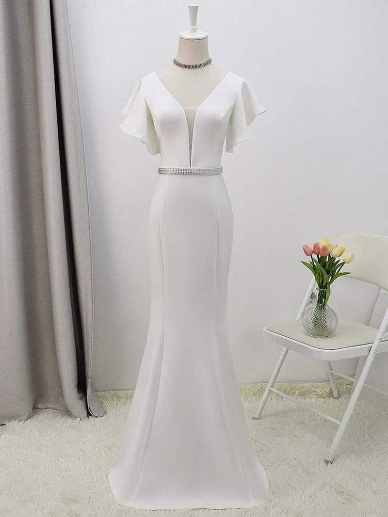 Plain Maxi Fishtail Wedding Dress With Ruffle Sleeves-Cream 8