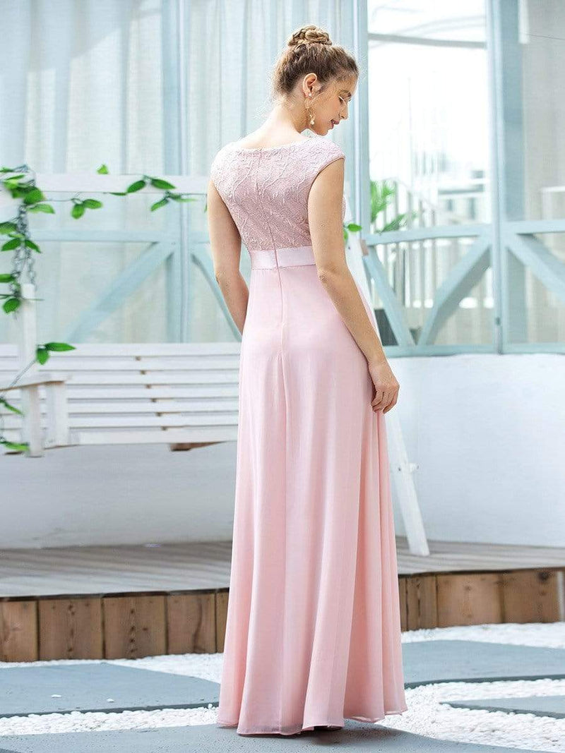 Women'S Cute A-Line V Neck Embroidered Chiffon Bridesmaid Dress-Pink 2