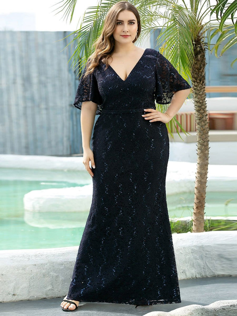 V Neck Flowy Sleeve Plus Size Fishtail Lace Evening Dresses-Navy Blue 3