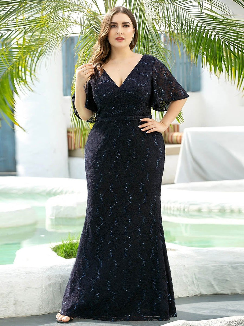 V Neck Flowy Sleeve Plus Size Fishtail Lace Evening Dresses-Navy Blue 1