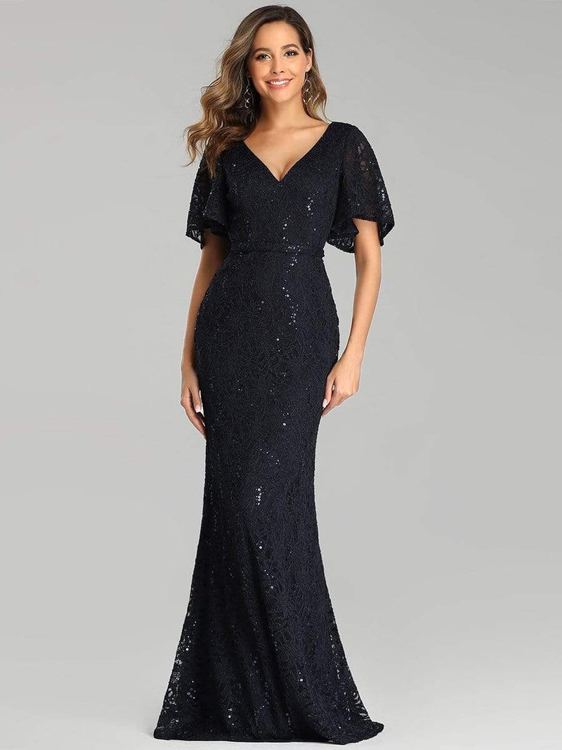 Elegant Ruffle Sleeves Mermaid Lace Evening Dresses With Beads-Navy Blue 4