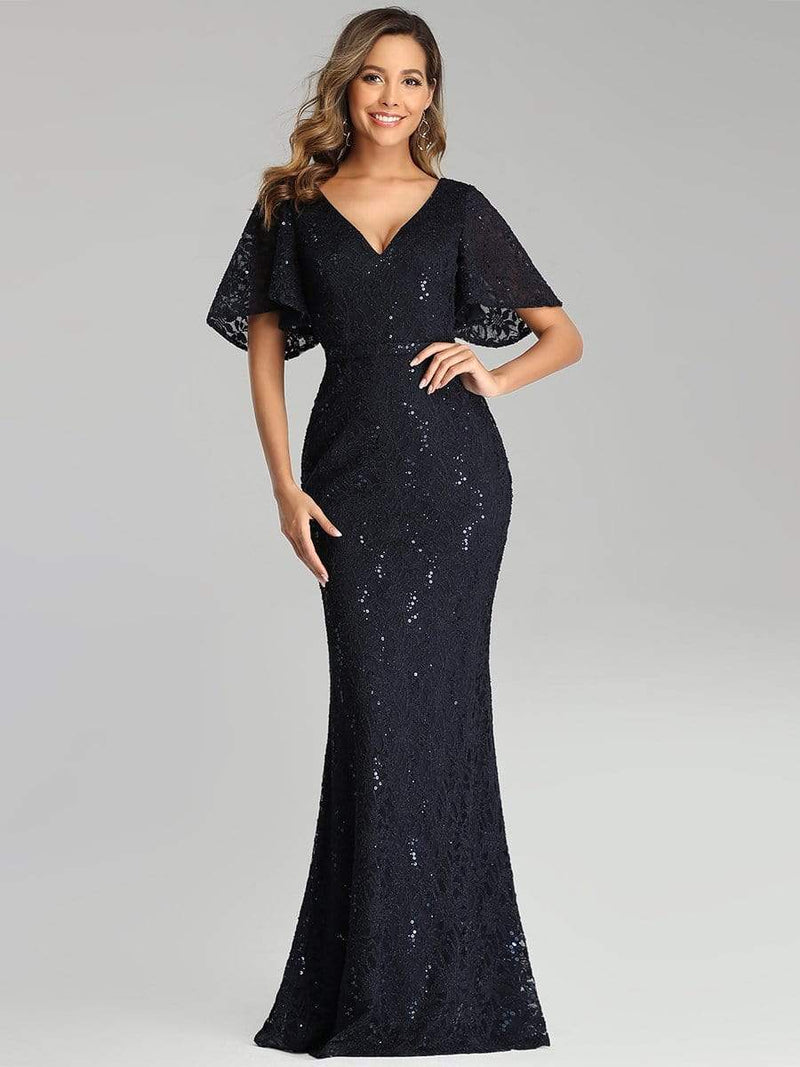 Elegant Ruffle Sleeves Mermaid Lace Evening Dresses With Beads-Navy Blue 1