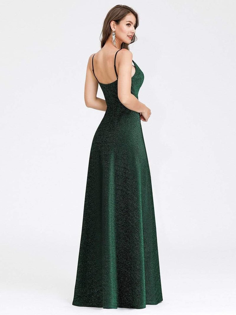 Women'S V-Neck Spaghetti Straps Stretchy Evening Dress-Dark Green 2