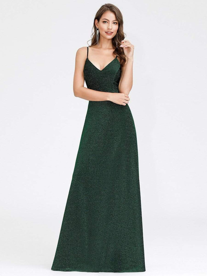 Women'S V-Neck Spaghetti Straps Stretchy Evening Dress-Dark Green 4
