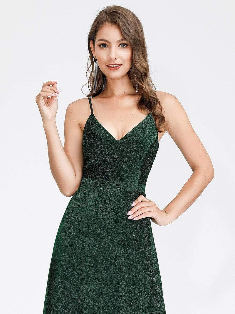 Women'S V-Neck Spaghetti Straps Stretchy Evening Dress-Dark Green 5