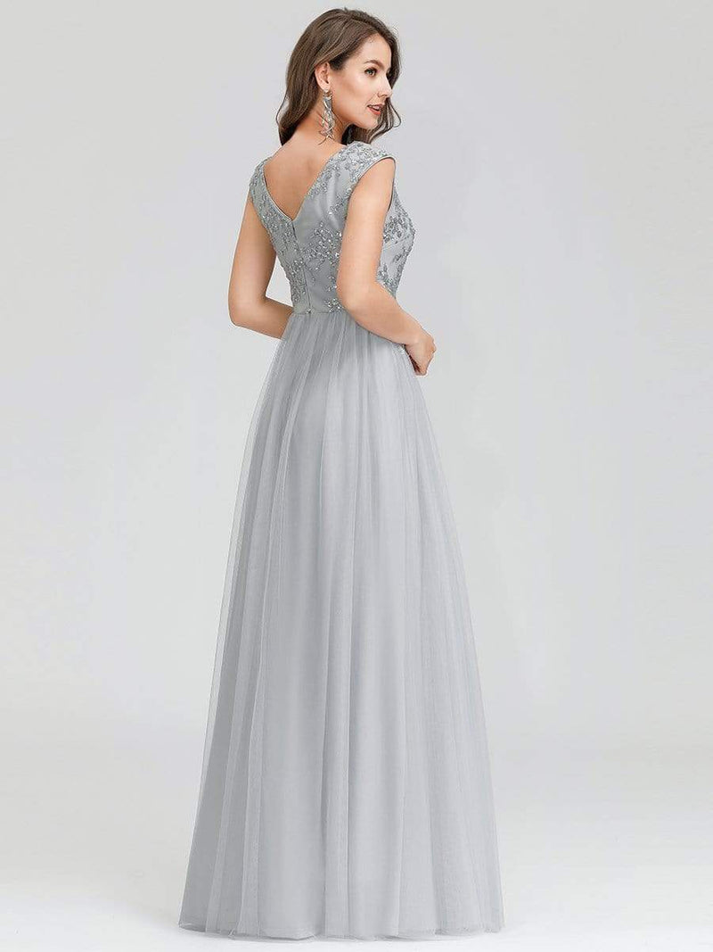 Women'S Fashion Double V-Neck Evening Dress-Grey 2