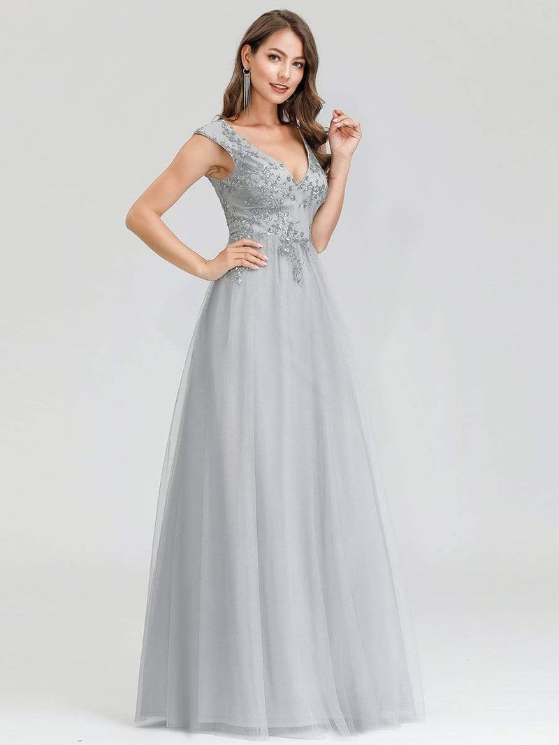 Women'S Fashion Double V-Neck Evening Dress-Grey 3