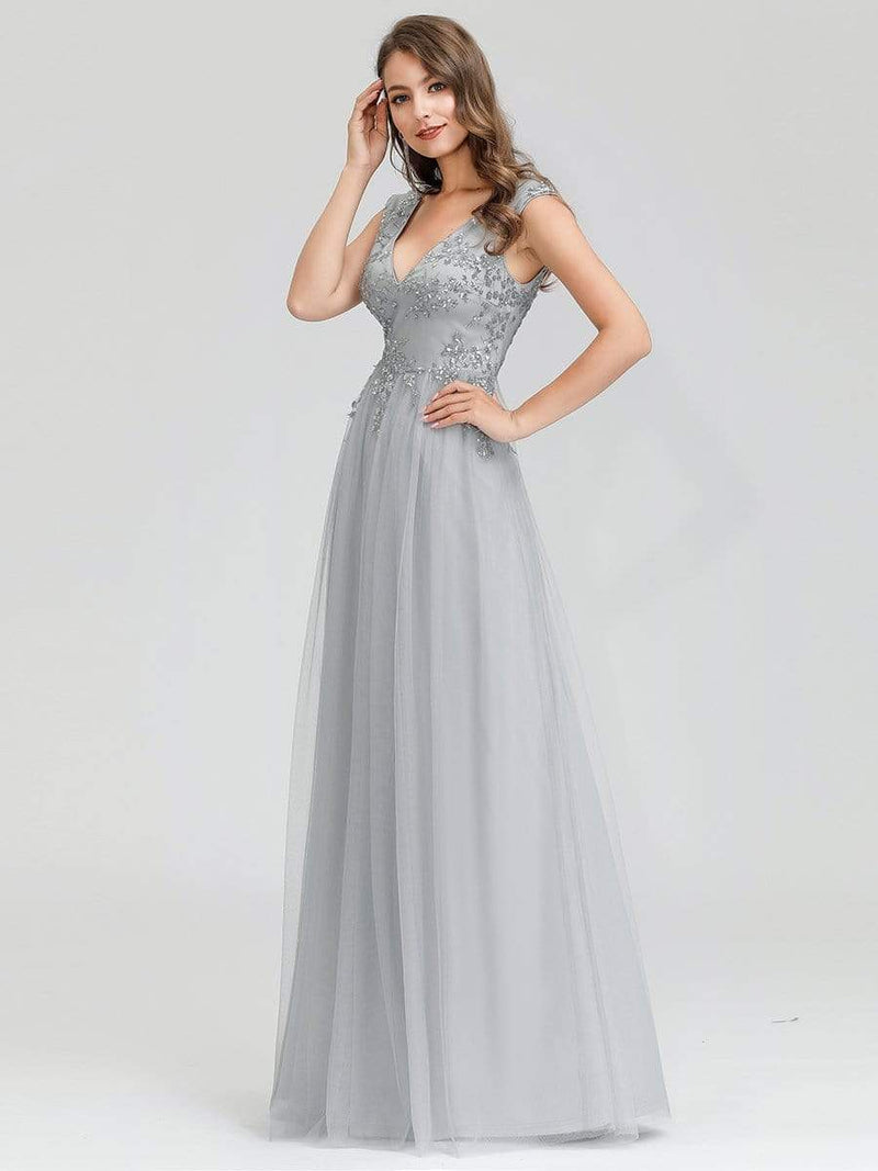 Women'S Fashion Double V-Neck Evening Dress-Grey 4