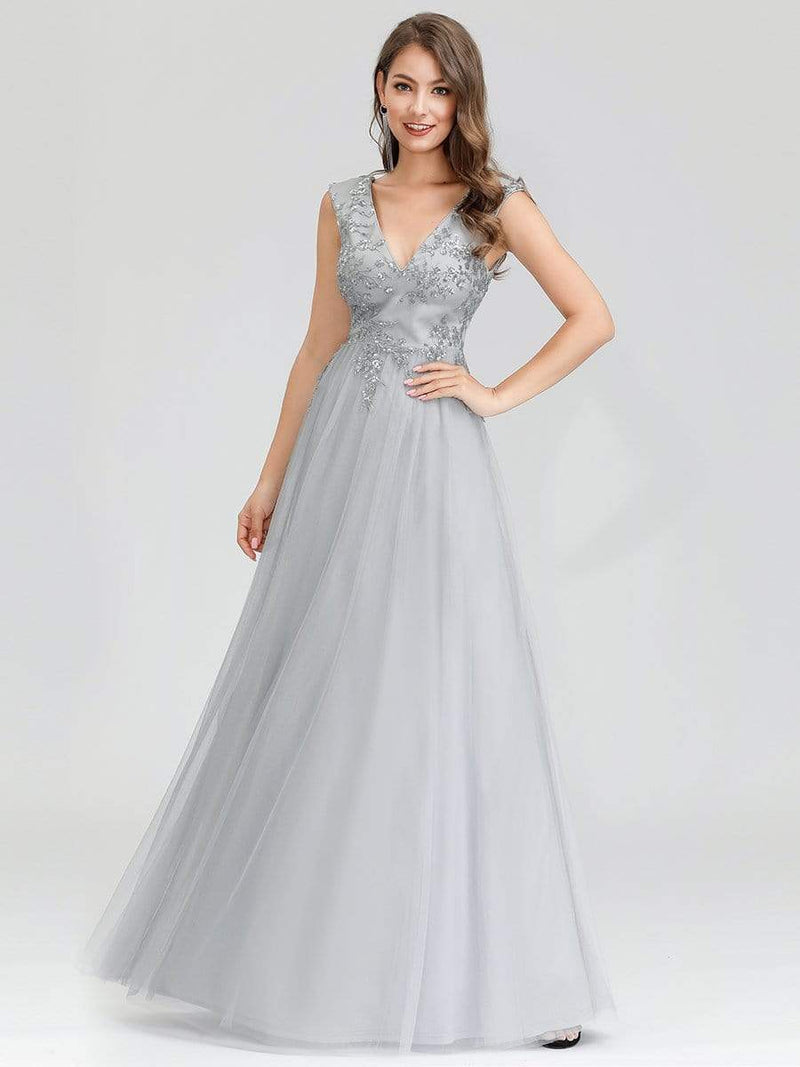 Women'S Fashion Double V-Neck Evening Dress-Grey 1