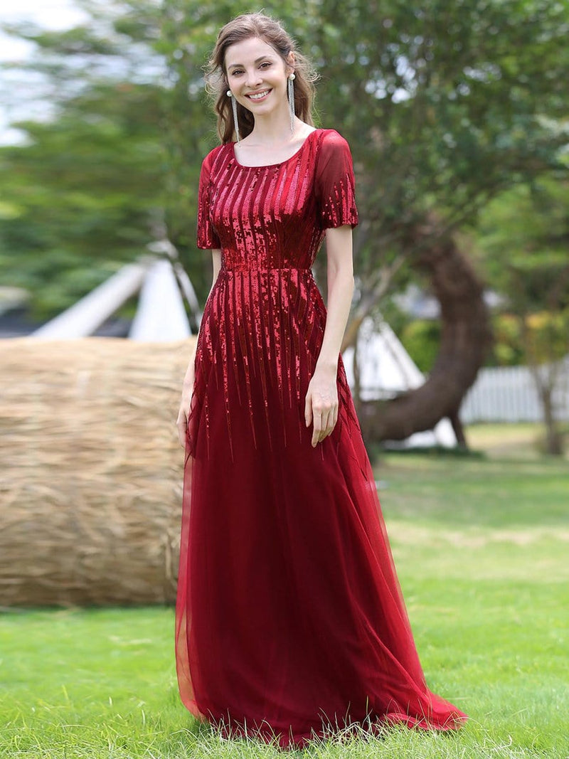 Women'S Fashion Round Neckline Floor Length Evening Dress-Burgundy 4