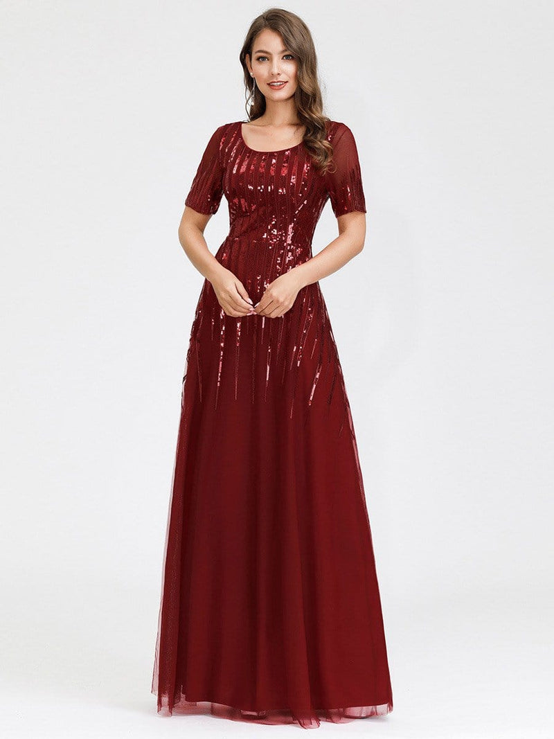 Women'S Fashion Round Neckline Floor Length Evening Dress-Burgundy 11