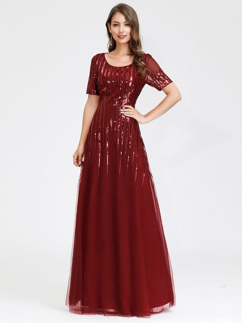 Women'S Fashion Round Neckline Floor Length Evening Dress-Burgundy 8