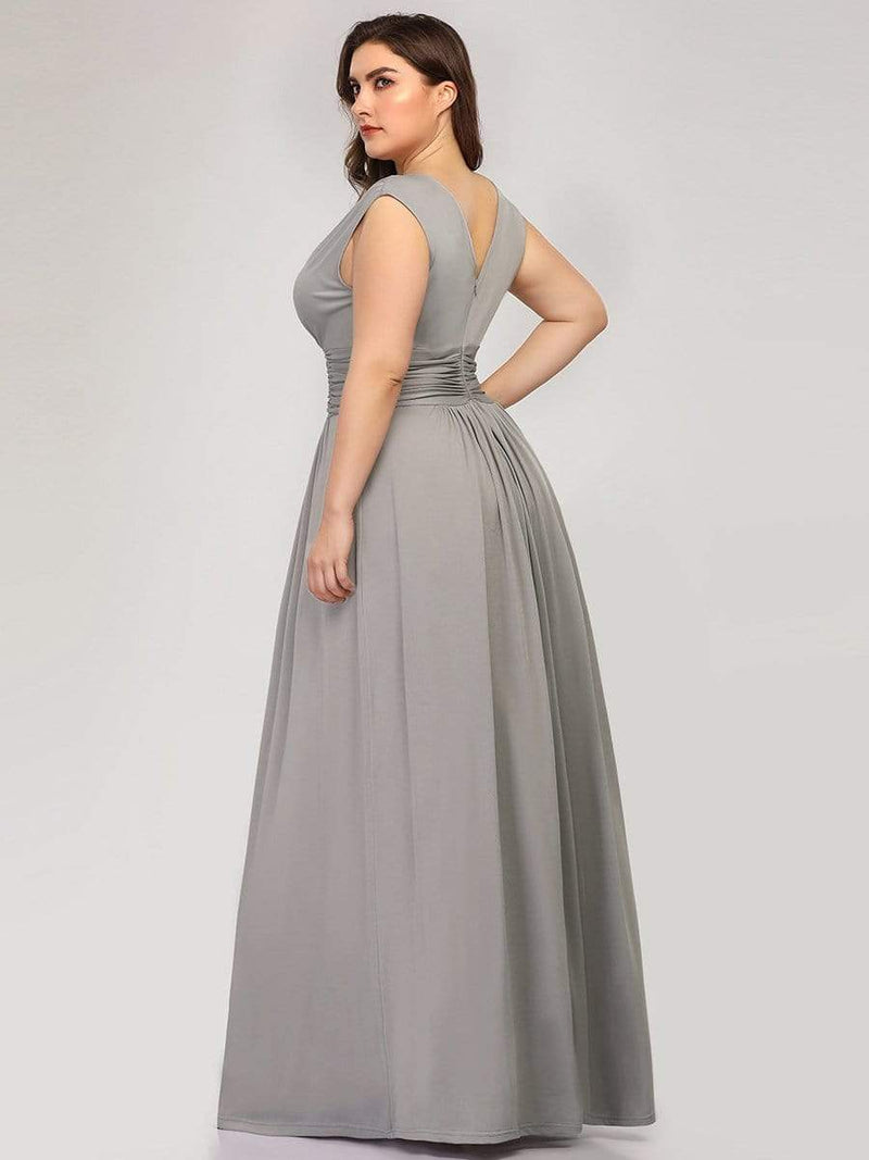Women'S Fashion Double V-Neck Bridesmaid Dress-Grey 7