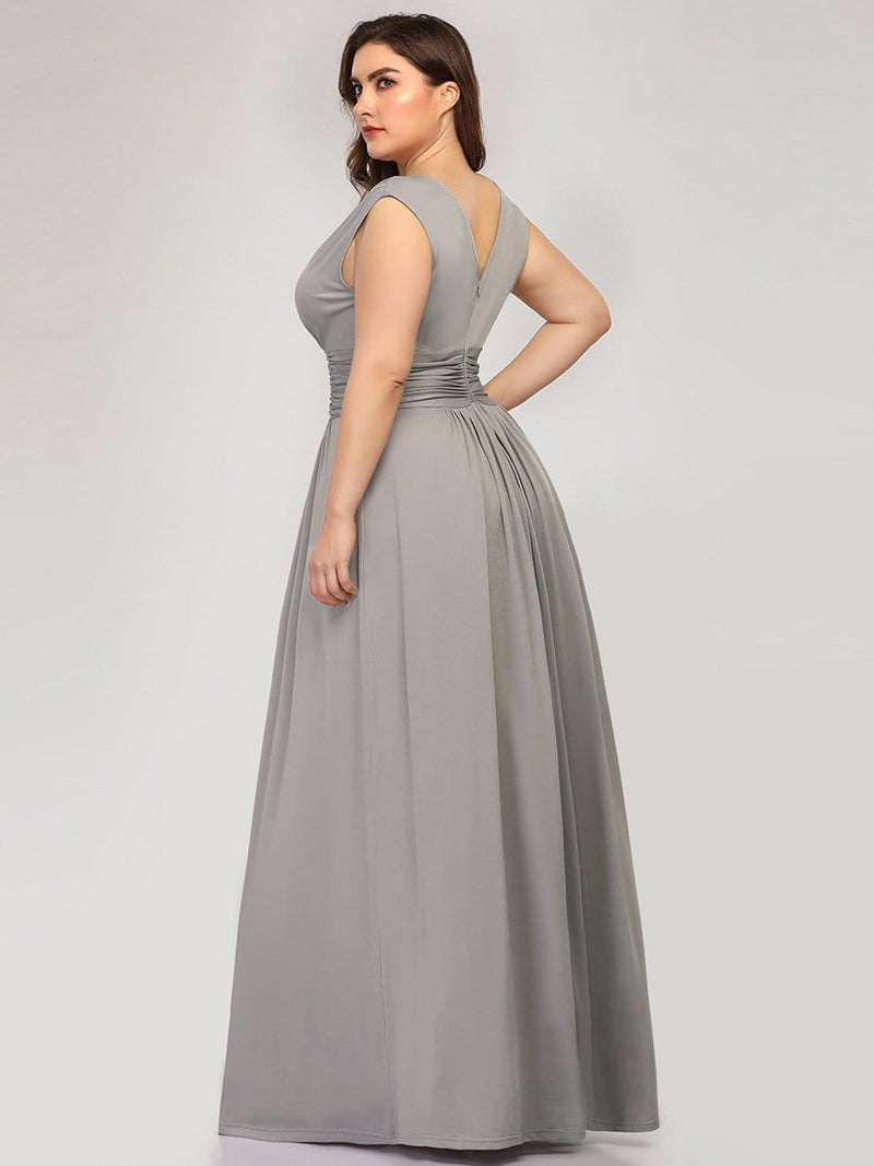 Plus Size Women'S Fashion Double V-Neck Bridesmaid Dress-Grey 2
