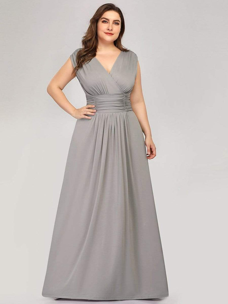 Women'S Fashion Double V-Neck Bridesmaid Dress-Grey 8