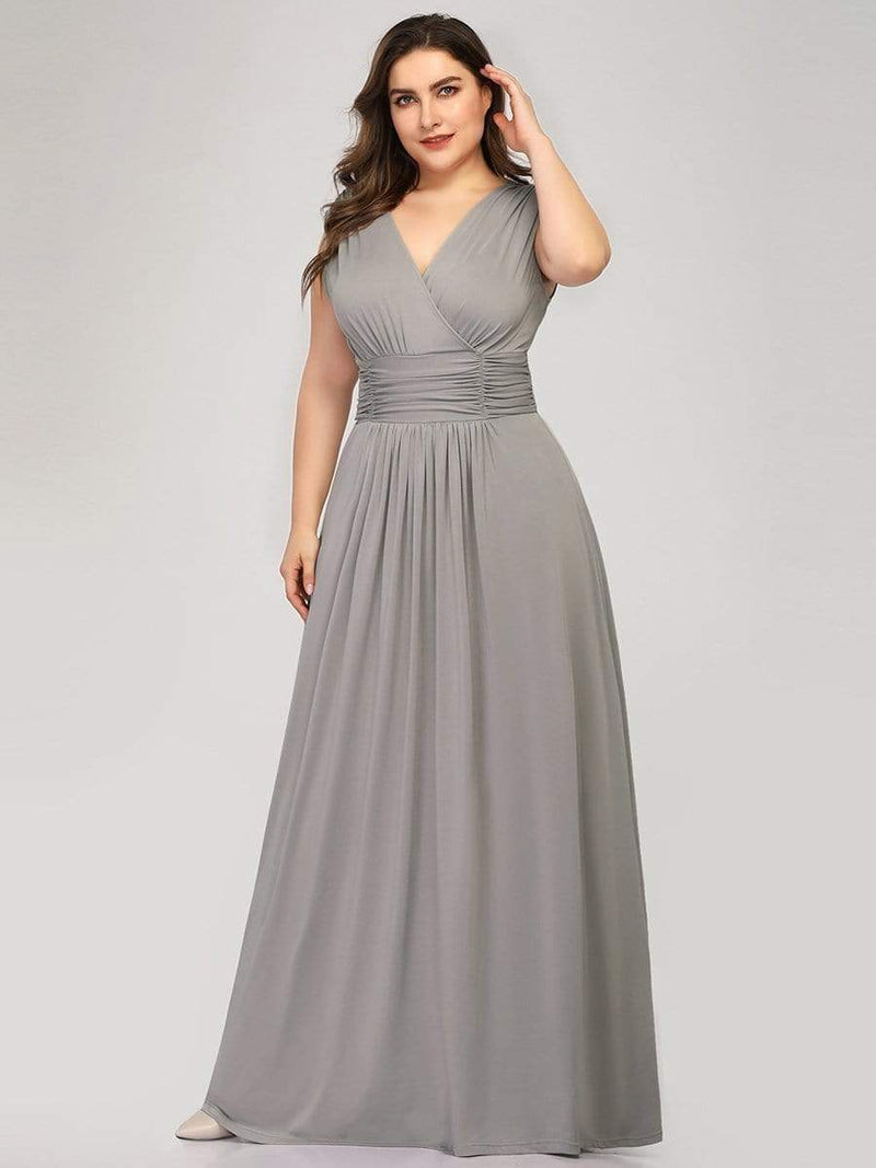 Women'S Fashion Double V-Neck Bridesmaid Dress-Grey 9