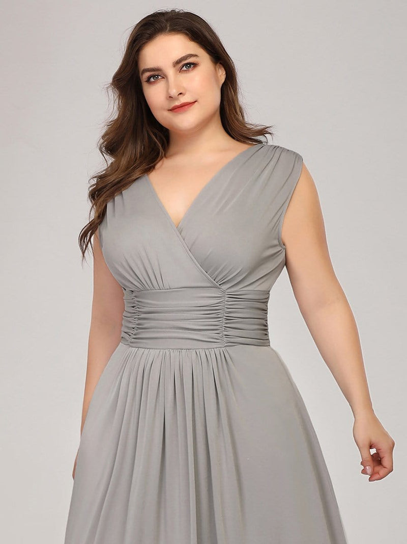 Plus Size Women'S Fashion Double V-Neck Bridesmaid Dress-Grey 5