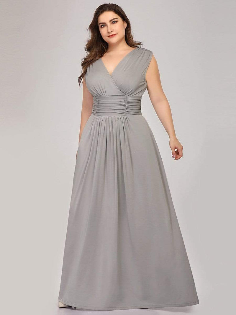 Women'S Fashion Double V-Neck Bridesmaid Dress-Grey 6
