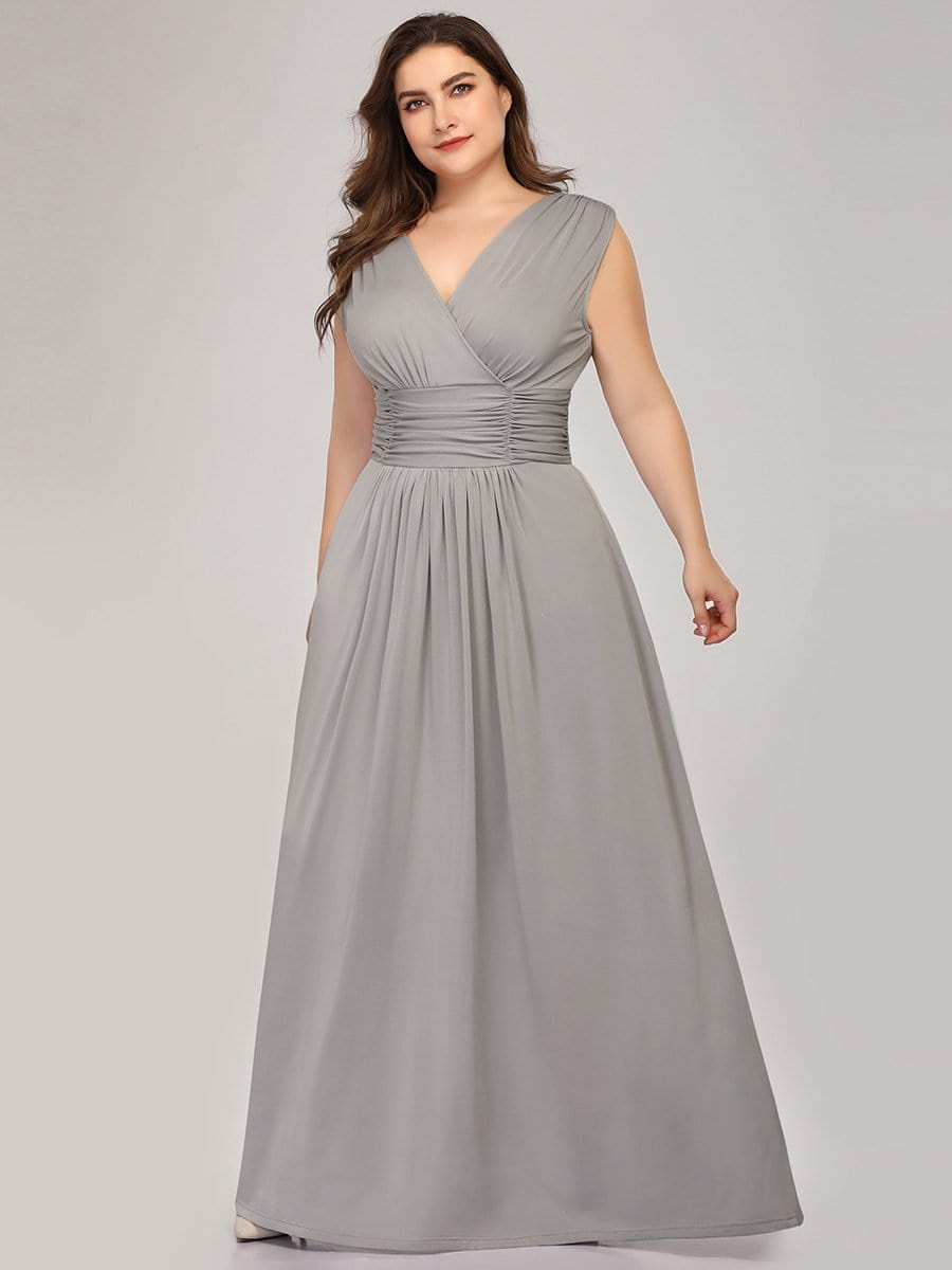 Plus Size Women\'s Fashion Double V-Neck Bridesmaid Dress