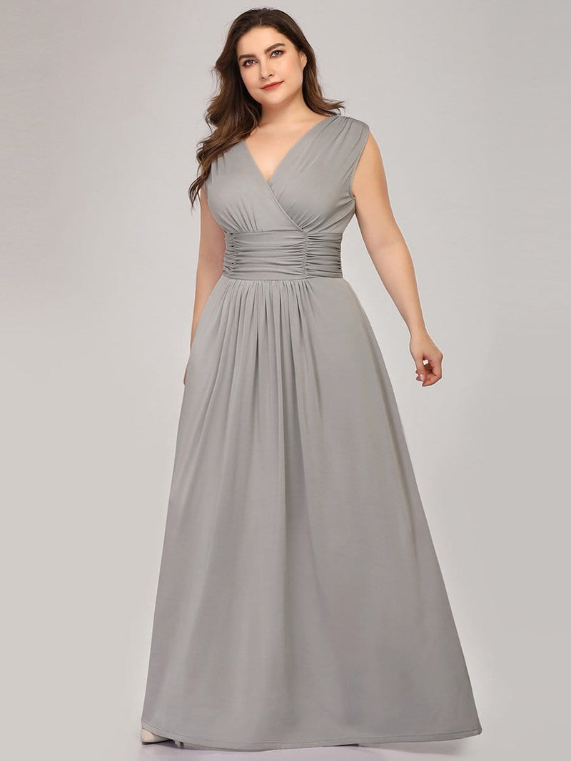 Plus Size Women'S Fashion Double V-Neck Bridesmaid Dress-Grey 1