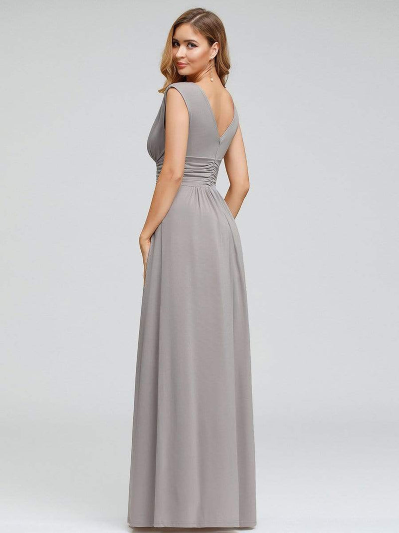 Women'S Fashion Double V-Neck Bridesmaid Dress-Grey 2