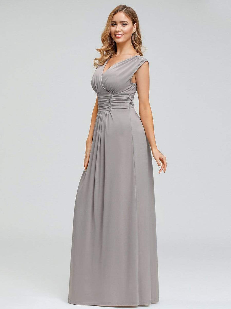 Women'S Fashion Double V-Neck Bridesmaid Dress-Grey 3
