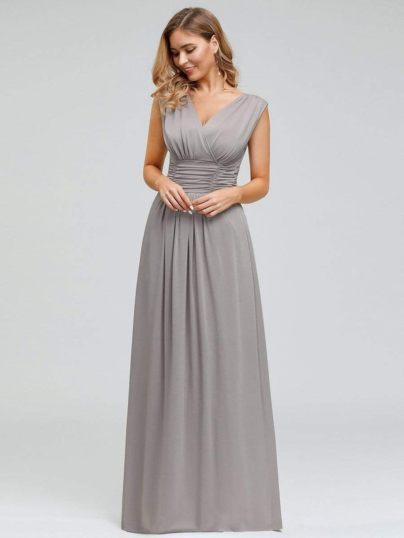 Women'S Fashion Double V-Neck Bridesmaid Dress-Grey 4