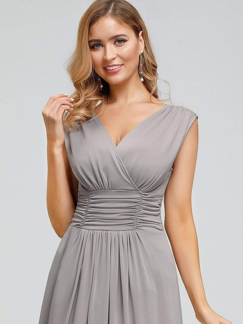 Women'S Fashion Double V-Neck Bridesmaid Dress-Grey 5