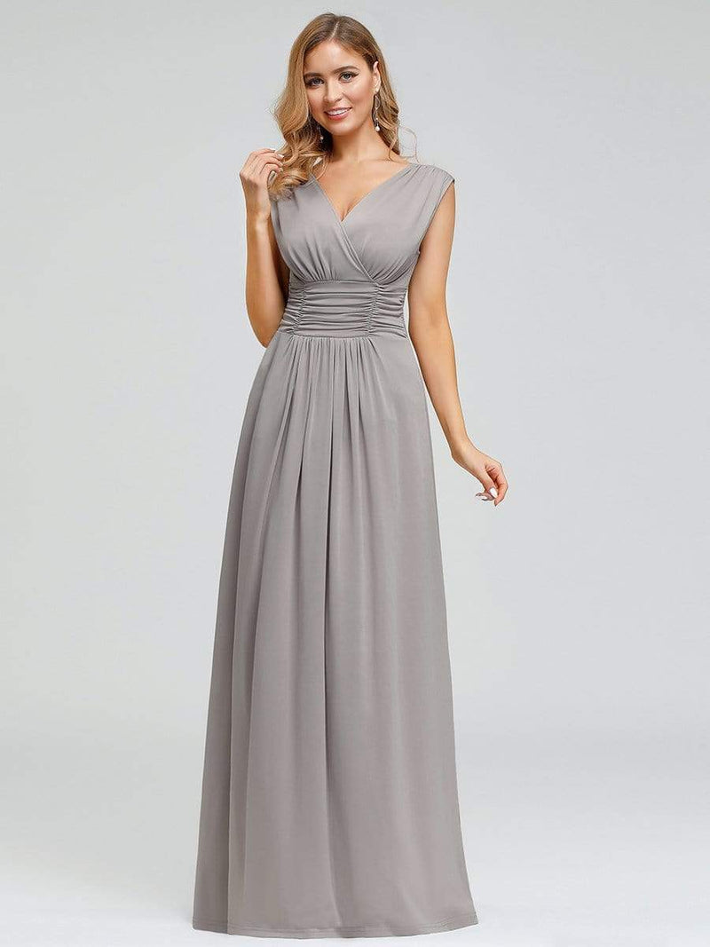 Women'S Fashion Double V-Neck Bridesmaid Dress-Grey 1