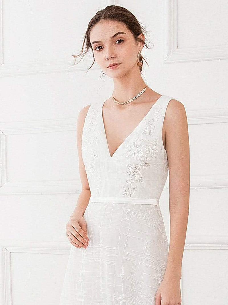 Women'S V-Neck Sleeveless Floral Lace Wedding Dress-White 5
