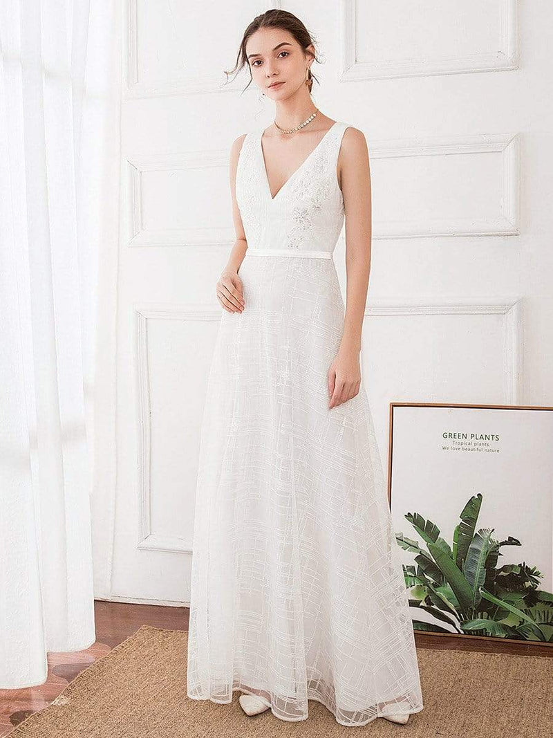 Women'S V-Neck Sleeveless Floral Lace Wedding Dress-White 1