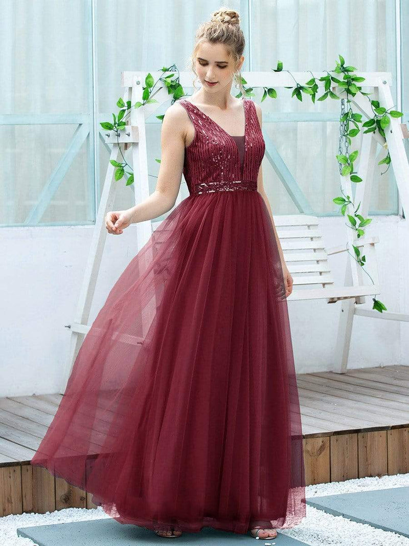 Women'S Fashion A-Line  Floor Length Bridesmaid Dress-Burgundy 4